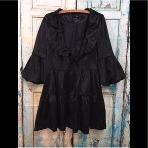 Anthropologie RYU Black Shiny Dress Trench Coat M